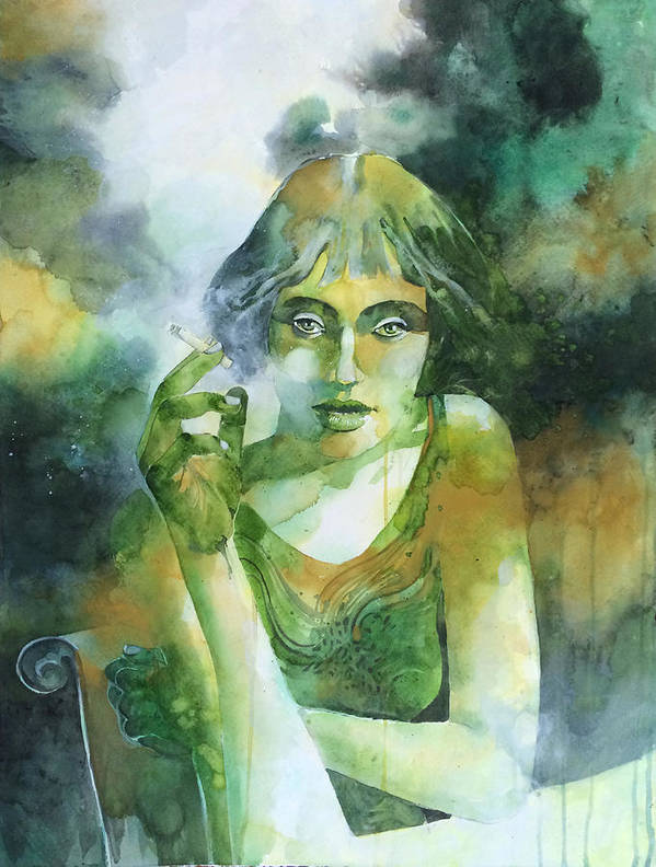 Girl Art Print featuring the painting La ragazza che fumava gauloises by Alessandro Andreuccetti