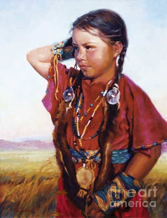 Indian Art Print featuring the painting Little American Beauty II by Jean Hildebrant