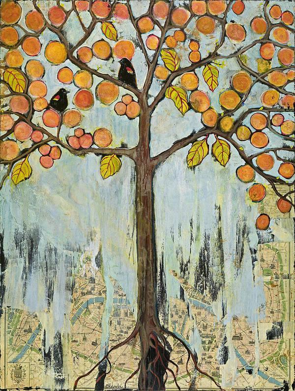 Tree Art Print featuring the painting Love Birds in Paris Tree of Life by Blenda Studio
