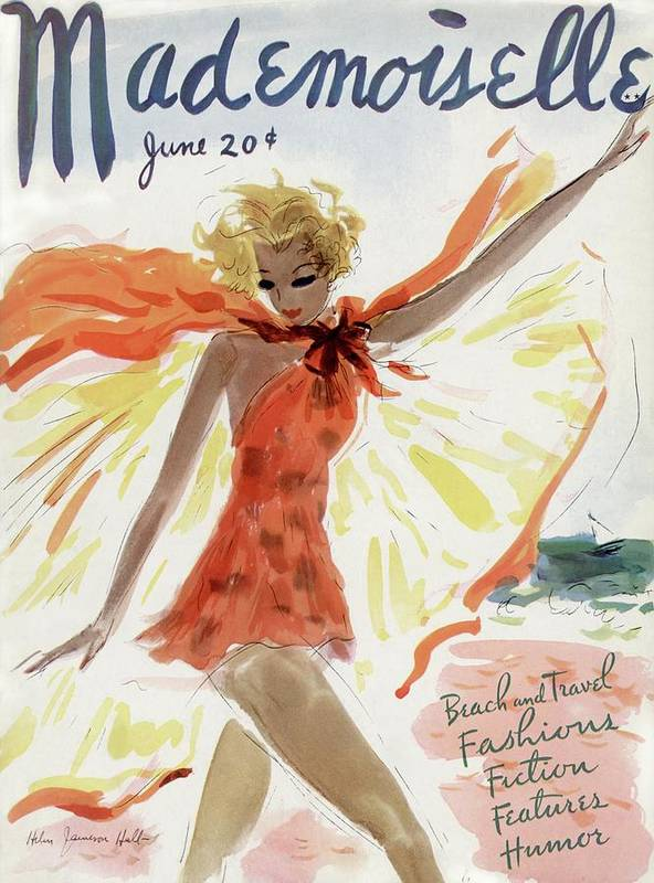 Illustration Art Print featuring the painting Mademoiselle Cover Featuring A Model At The Beach by Helen Jameson Hall
