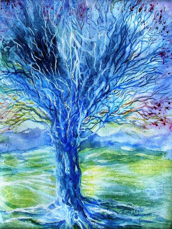 Tree of Life Watercolor Print Blue Wall Art Celtic Tree Art Yoga Gift Yoga Decor
