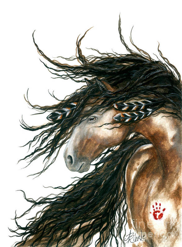 Horse Art Print featuring the painting Majestic Pinto Horse 80 by AmyLyn Bihrle