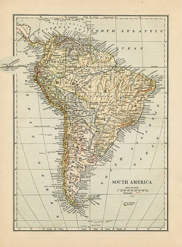 Burnt Art Print featuring the photograph Map Of South America 1875 by Thepalmer