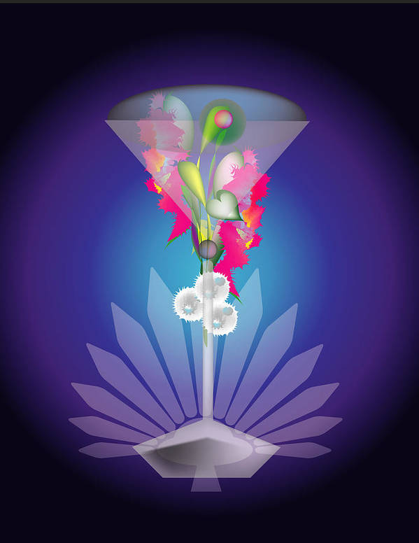 Martini Art Print featuring the digital art Martini Flower by George Pasini