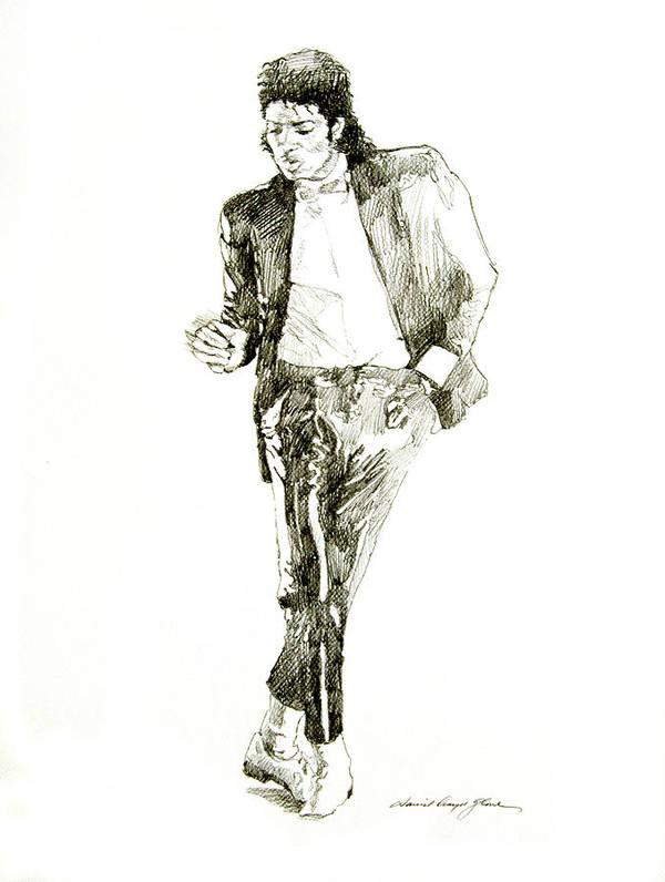 Michael Jackson Art Print featuring the drawing Michael Jackson Billy Jean by David Lloyd Glover
