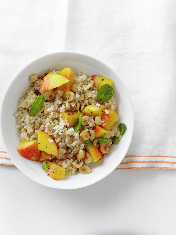 Temptation Art Print featuring the photograph Minted Bulgur And Peach Salad by Iain Bagwell