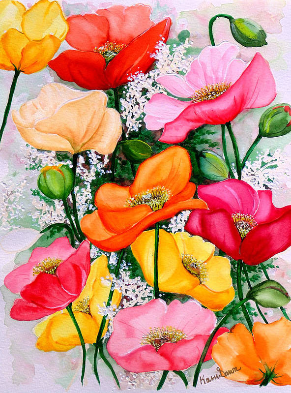 Poppies Art Print featuring the painting Mixed Poppies by Karin Dawn Kelshall- Best
