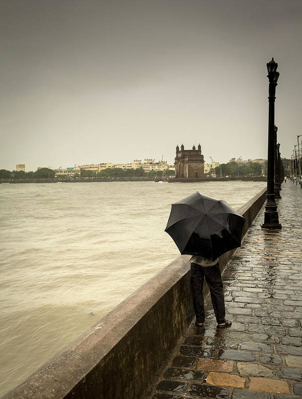 People Art Print featuring the photograph Monsoon In Mumbai by Frank Bunnik
