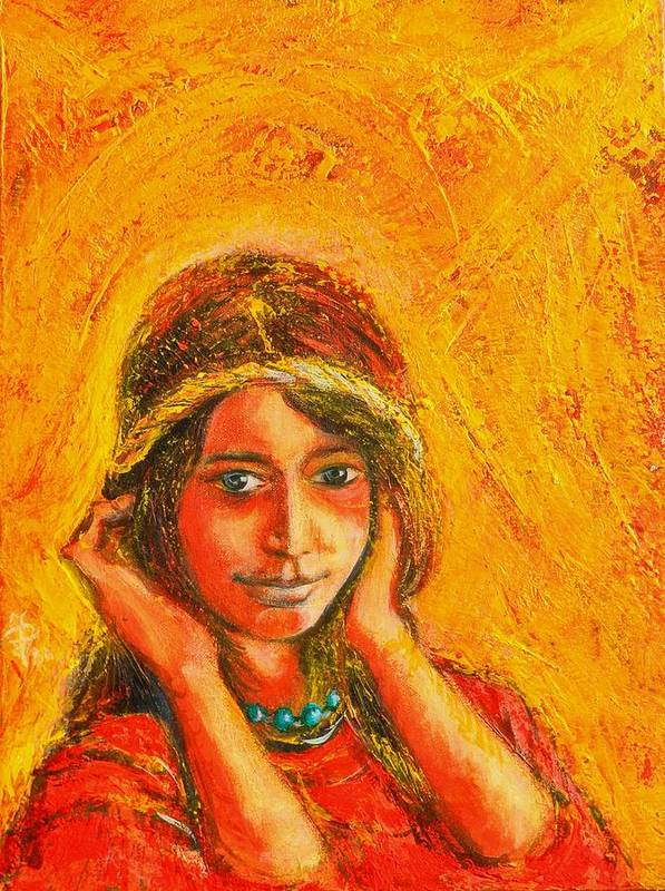 Portrait Art Print featuring the painting My Princess by ITI Ion Vincent Danu