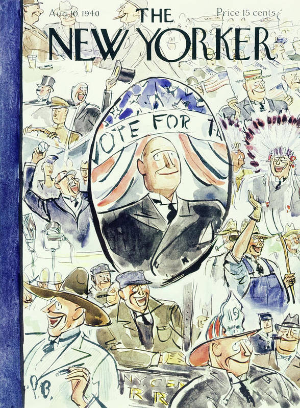 Political Art Print featuring the painting New Yorker August 10 1940 by Perry Barlow