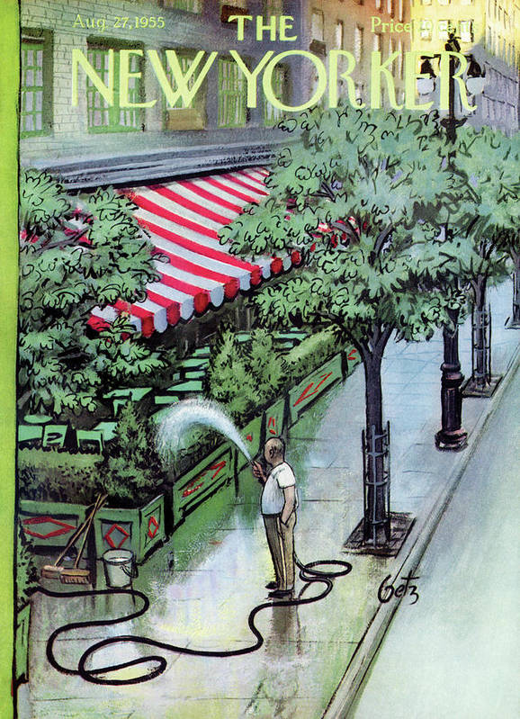 Restaurant Art Print featuring the painting New Yorker August 27th, 1955 by Arthur Getz
