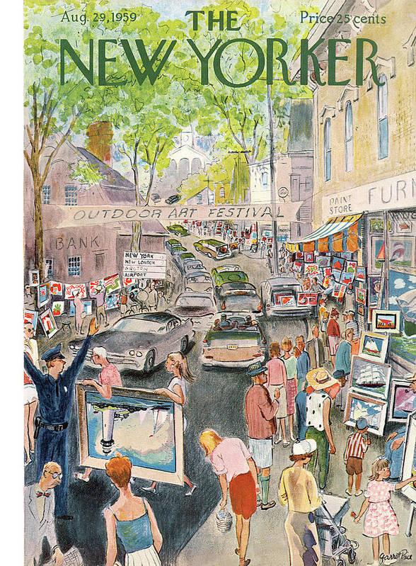 Garrett Price Gpi Art Print featuring the painting New Yorker August 29th, 1959 by Garrett Price