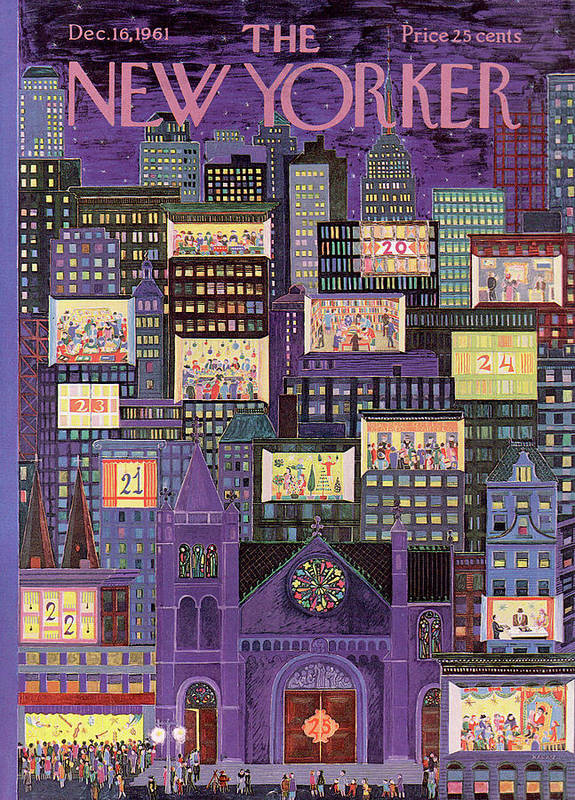 Christmas Art Print featuring the painting New Yorker December 16th, 1961 by Ilonka Karasz