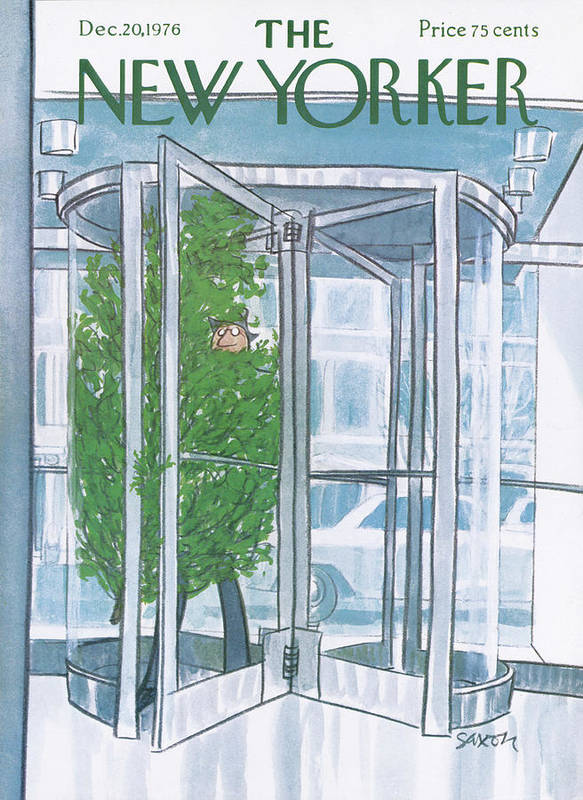 Revolving Door Art Print featuring the painting New Yorker December 20th, 1976 by Charles Saxon