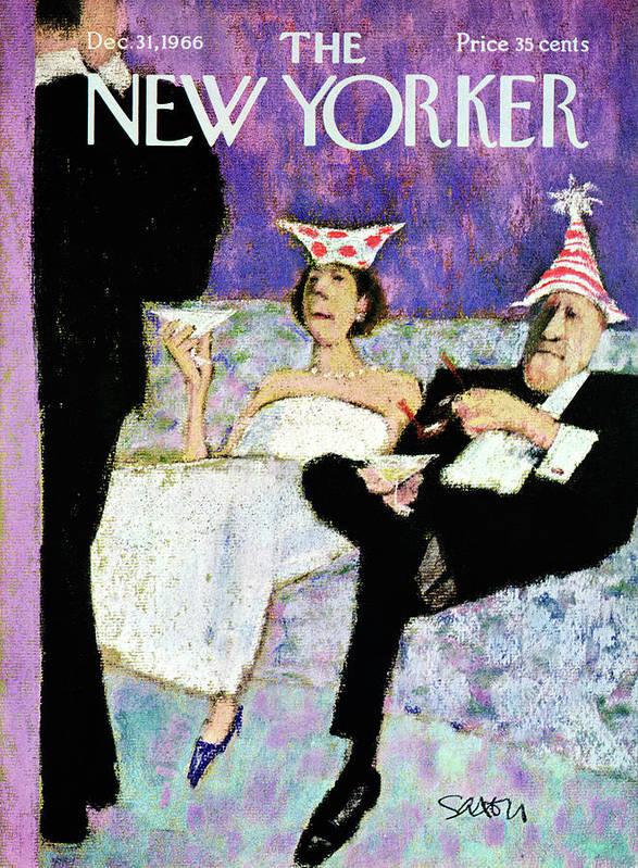 (a Formally Dressed Couple With New Year's Eve Hats On Art Print featuring the painting New Yorker December 31st, 1966 by Charles Saxon
