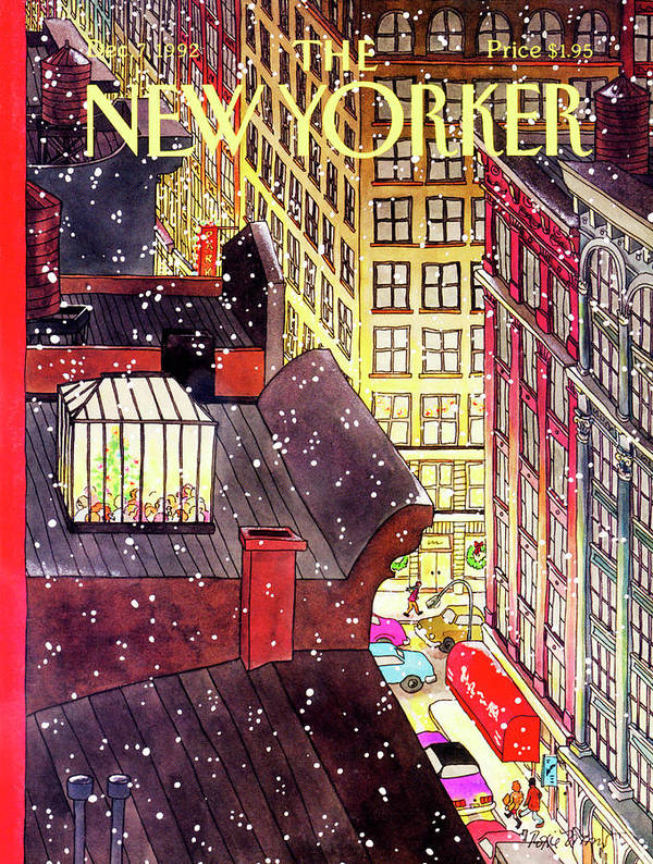A Birds-eye View Of A Busy Shopping Evening Downtown. Snow Begins To Fall On The Rooftops Where One Sunroof Is Illuminated By A Crowd Gathered Around A Christmas Tree. Art Print featuring the painting New Yorker December 7th, 1992 by Roxie Munro
