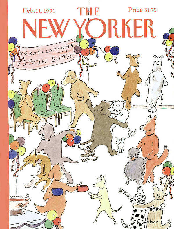 Dogs Of All Kinds Mingle At A Dance Art Print featuring the painting New Yorker February 11th, 1991 by Danny Shanahan