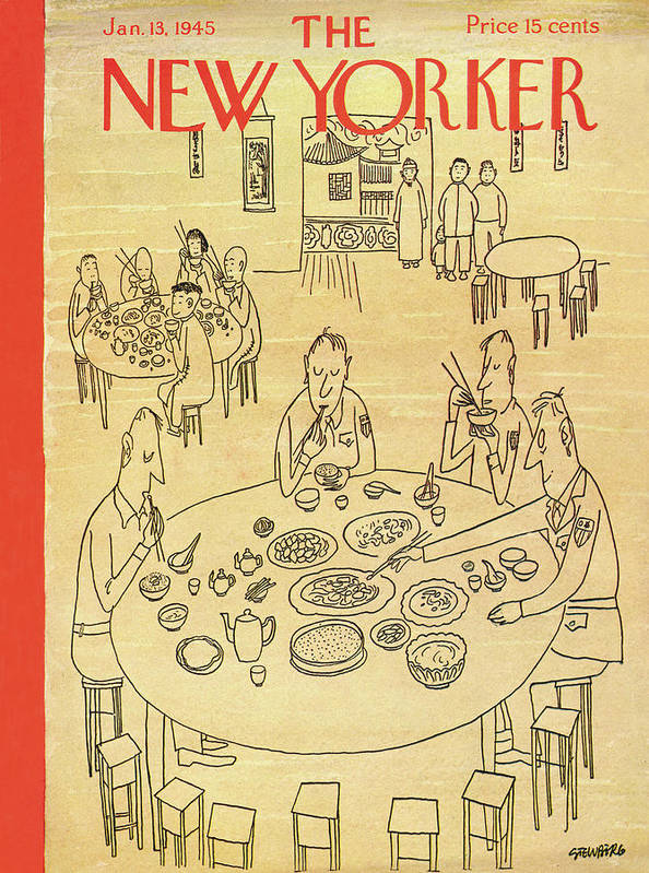 Saul Steinberg 48901 Art Print featuring the painting New Yorker January 13, 1945 by Saul Steinberg