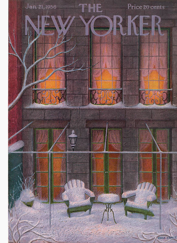 Snow Art Print featuring the painting New Yorker January 21st, 1956 by Edna Eicke