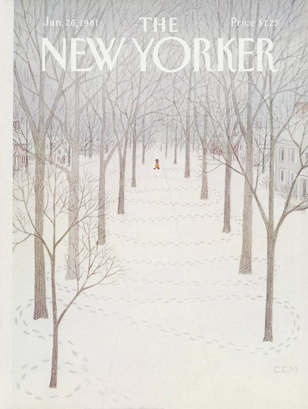 Season Art Print featuring the painting New Yorker January 26th, 1981 by Charles E Martin