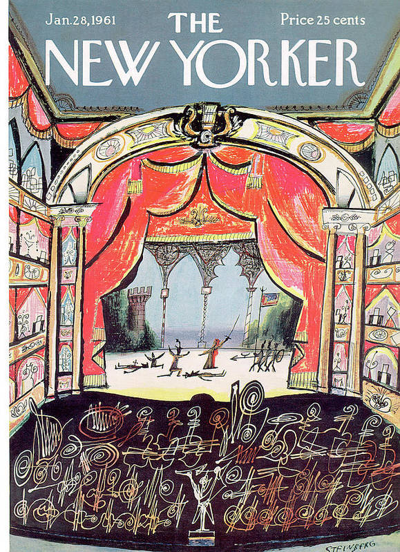 Saul Steinberg 49648 Steinbergattny Art Print featuring the painting New Yorker January 28th, 1961 by Saul Steinberg