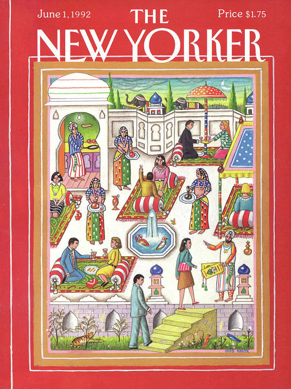 A Middle Eastern Motif Depicting A Restaurant's Employees And Patrons Partaking In Various Dining Related Activities On Carpets And Under Umbrellas. Art Print featuring the painting New Yorker June 1st, 1992 by Bob Knox