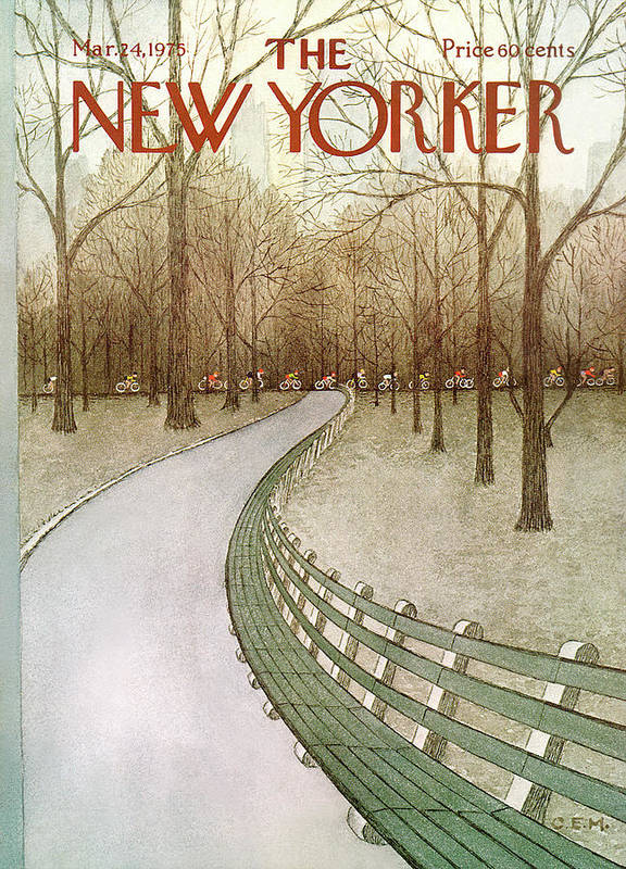 Park Art Print featuring the painting New Yorker March 24th, 1975 by Charles E Martin