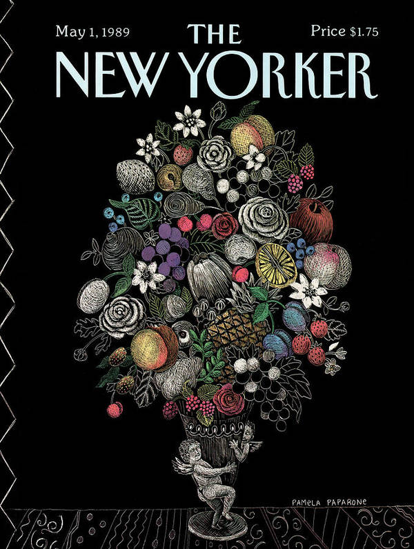 Flower Art Print featuring the painting New Yorker May 1st, 1989 by Pamela Paparone