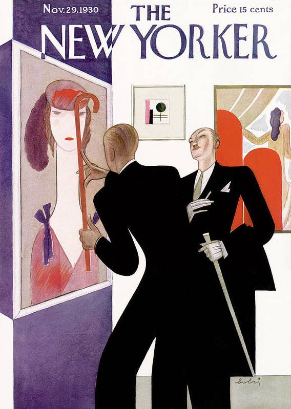 Fine Art Gallery Painting Critic Critique Fashion Portrait Deco Artist Sophistication Victor Bobritsky Vbo Artkey 48249 Art Print featuring the painting New Yorker November 29th, 1930 by Victor Bobritsky