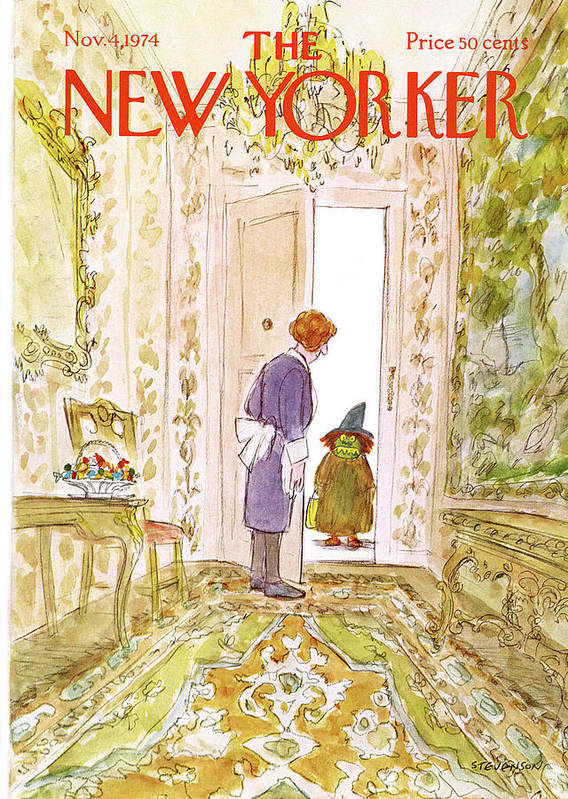 Halloween Art Print featuring the painting New Yorker November 4th, 1974 by James Stevenson