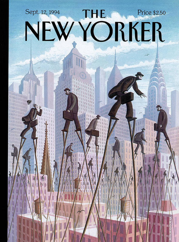 Life At The Top Art Print featuring the painting New Yorker September 12th, 1994 by Eric Drooker
