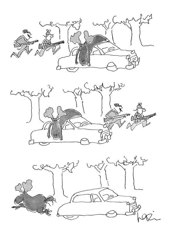 (series(3). Moose Lies On Car Roof. Hunters Rush Into Woods. Moose Runs Away.)animals Art Print featuring the drawing No Caption by Arnie Levin