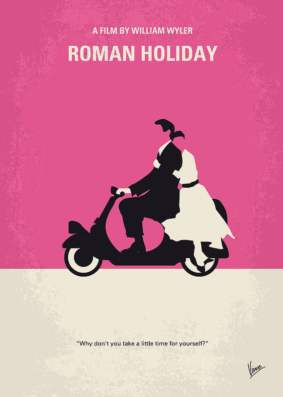 Roman Art Print featuring the digital art No205 My Roman Holiday minimal movie poster by Chungkong Art