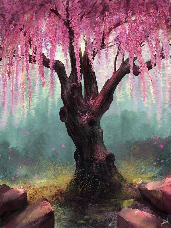 Cherry Blossom Tree Art Print featuring the digital art Ode To Spring by Steve Goad