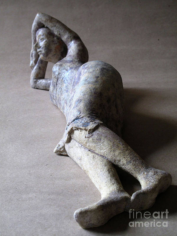 Sculpture Art Print featuring the sculpture Olympia by Raimonda Jatkeviciute-Kasparaviciene