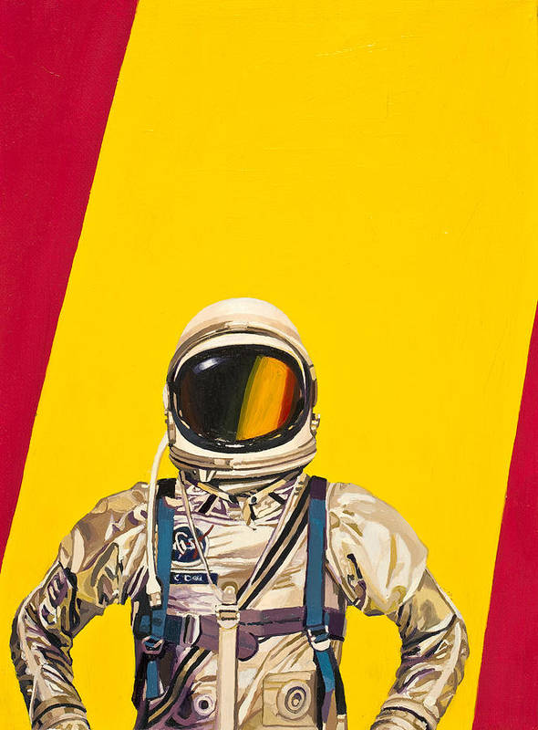Astronaut Art Print featuring the painting One Golden Arch by Scott Listfield
