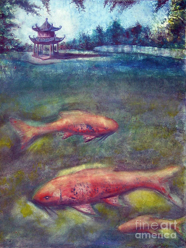 Pagoda Art Print featuring the painting Pagoda With Koi by Michael D