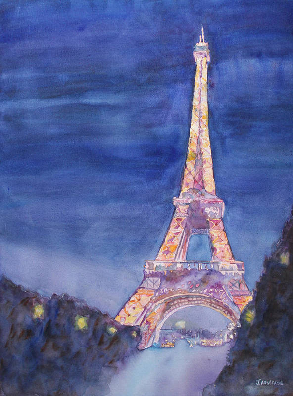 Paris Giant Watercolor Eiffel Tower Night Lighted Blue Gold Yellow Drama Dramatic Time Evening Wet Rain Rainy Dark France Art Print featuring the painting Paris Giant by Jenny Armitage