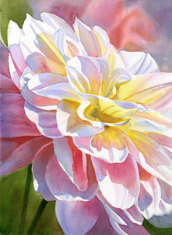 Watercolor Dahlia Art Print featuring the painting Peach And Yellow Dahlia by Sharon Freeman