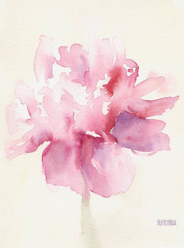 Floral Art Print featuring the painting Pink Peony Watercolor Paintings of Flowers by Beverly Brown