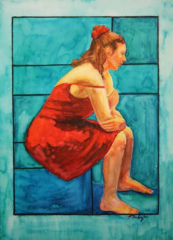 Art Print featuring the painting Red And Blue by Helen Hickey