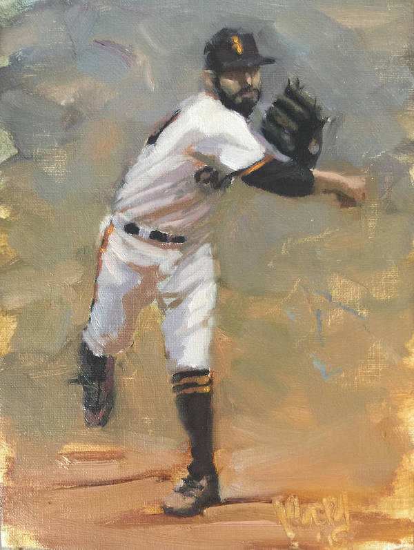 Sergio Romo Art Print featuring the painting Romo Throw to First by Darren Kerr