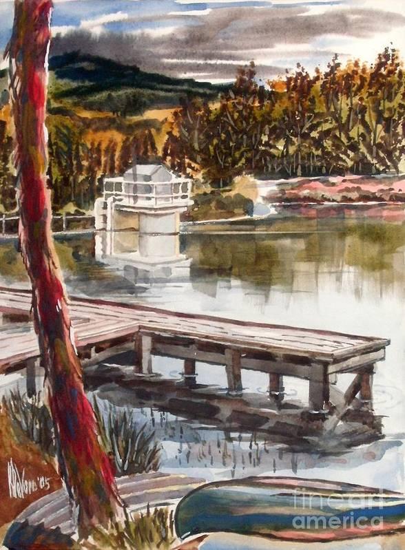 Shepherd Mountain Lake In Twilight Art Print featuring the painting Shepherd Mountain Lake in Twilight by Kip DeVore