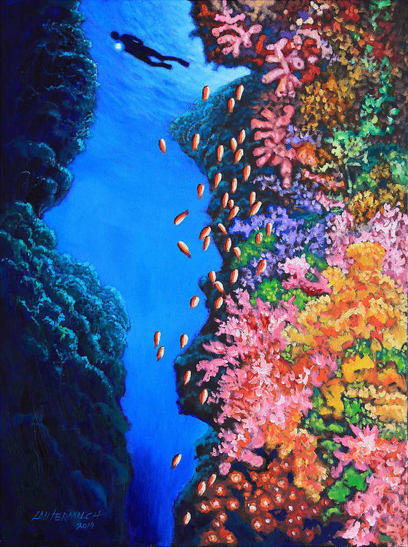 Ocean Art Print featuring the painting Shining a Light on the Mystery by John Lautermilch
