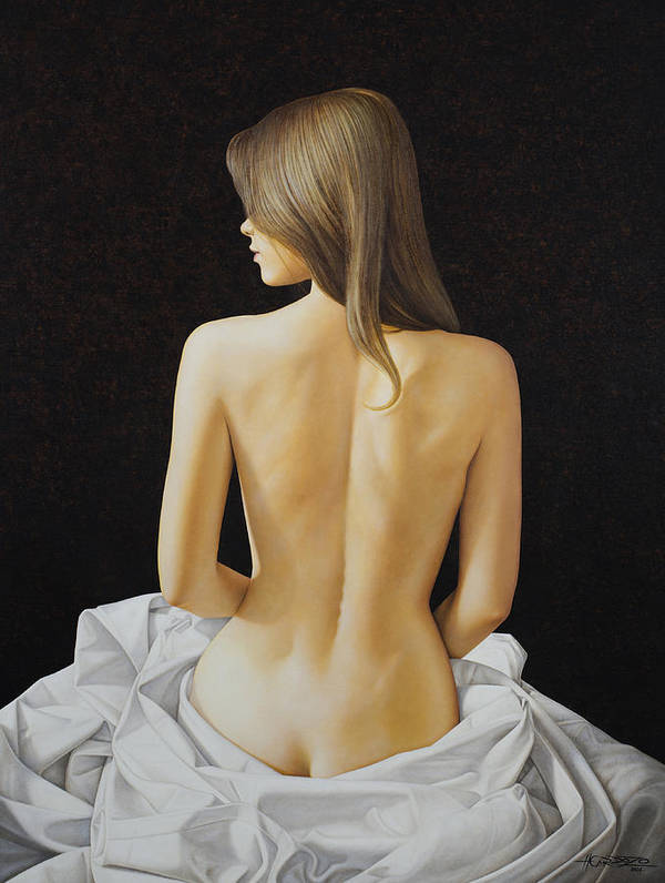 Woman Art Print featuring the painting Sitting Nude by Horacio Cardozo