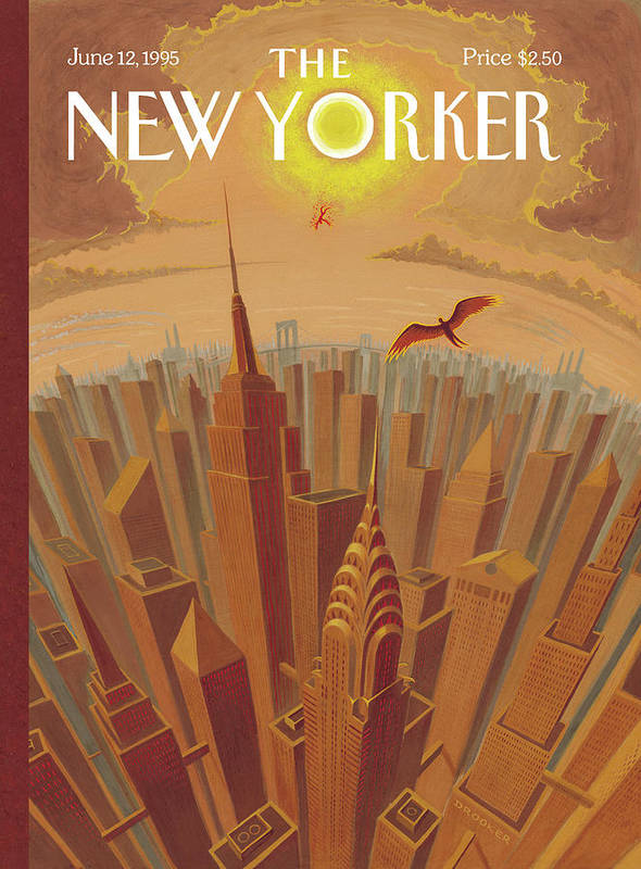 Icarus Art Print featuring the painting Skyline Of Nyc At Sunset With Icarus Flying Close by Eric Drooker
