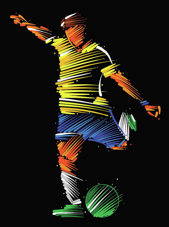 Goal Art Print featuring the digital art Soccer Player Running To Kick The Ball by Dimitrius Ramos