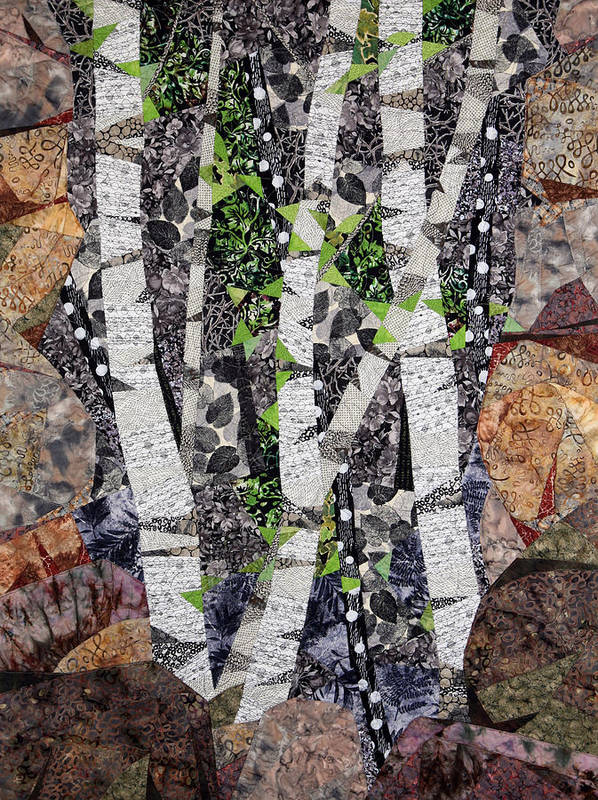Trees Art Print featuring the tapestry - textile Spring in the Mountains by Linda Beach