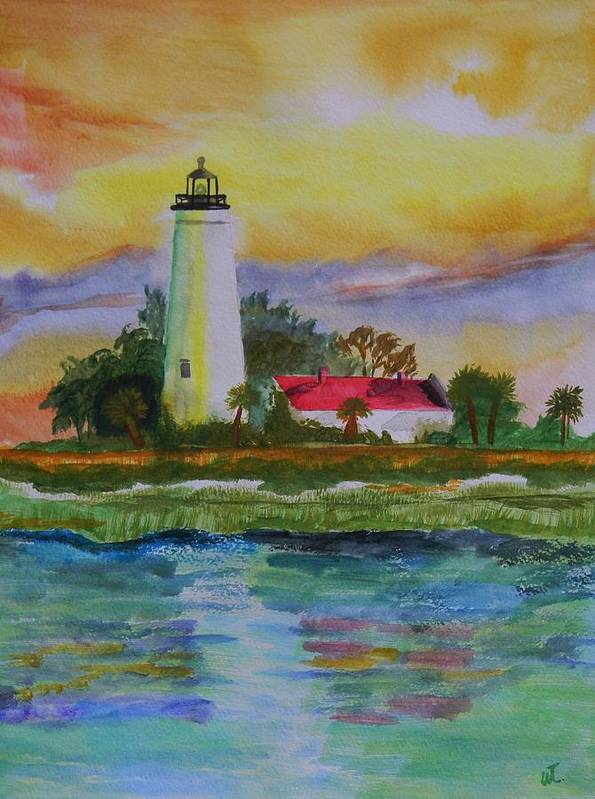 Landscape Art Print featuring the painting ST. Marks Lighthouse-2 by Warren Thompson