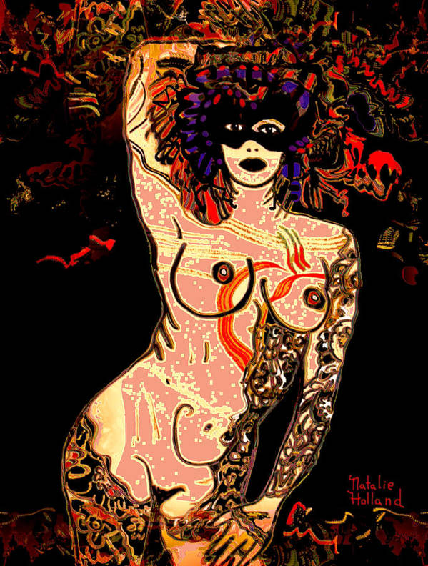 Nudes Art Print featuring the mixed media Strip Tease by Natalie Holland